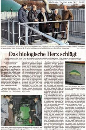Presseartikel - Das Biologische Herz der Anlage schlägt (08.11.2011)