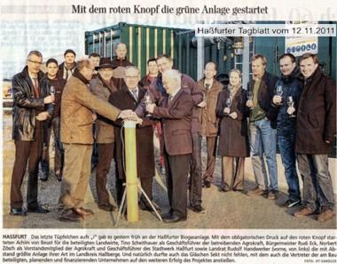 Presseartikel - Offizielle Inbetriebnahme der Biogasanlage (12.11.2011)